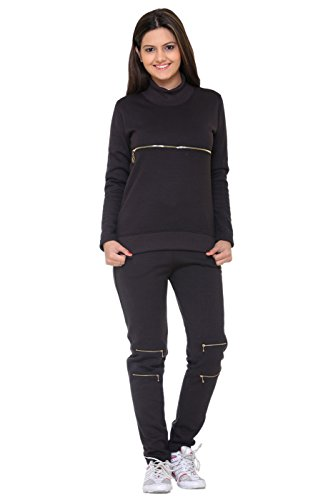 FREE RUNNER Women's Fleece Tracksuit (Black, Large)
