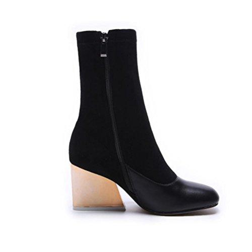 NSXZ Automne et hiver première couche de bottes en cuir des bottes avec des bottes de femmes rétro bottines , 35
