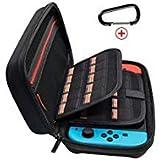 jabary Nintendo Schalter Fall mit 20Spiel Halter Neu Design Hartschale Travel, der Schutz Hülle Storage Bag Pouch für Nintendo Schalter Konsole Zubehör Schwarz