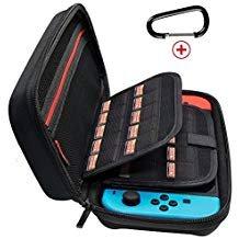 jabary Nintendo Schalter Fall mit 20Spiel Halter Neu Design Hartschale Travel, der Schutz Hülle Storage Bag Pouch für Nintendo Schalter Konsole Zubehör Schwarz (Kit Nintendo Ds Travel)