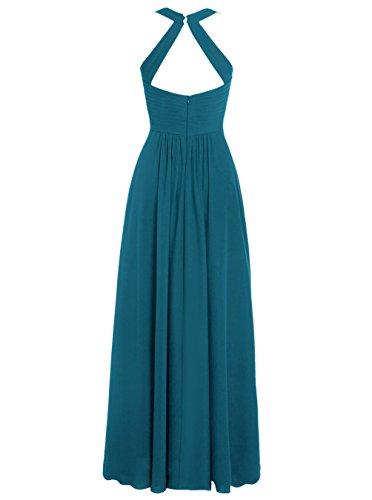 Dresstells, Robe de soirée Robe de demoiselle d'honneur mousseline longueur ras du sol Corail