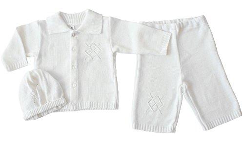 EKO Baby Jungen Taufanzug Jacke, Hose und Mütze Taufkleid Set weiß, Größe:74, Farbe:weiß -