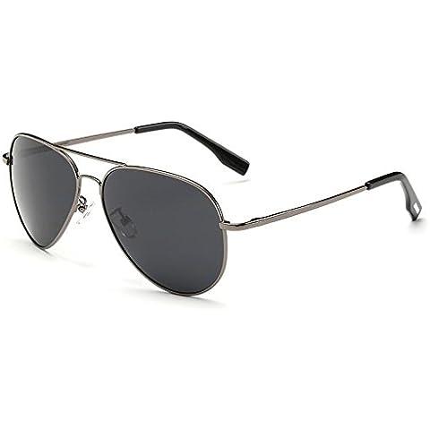 Uomo Occhiali con lenti a specchio Sport Rana Specchio polarizzato occhiali traversa Aviator Occhiali da sole Hipster per ciclismo pesca corsa guida Golf, Gery Frame+ Grey Lens