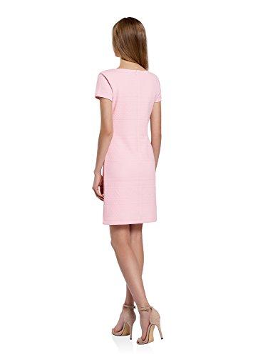 oodji Collection Damen Kleid aus Strukturiertem Stoff mit V-Ausschnitt Rosa (4000N)