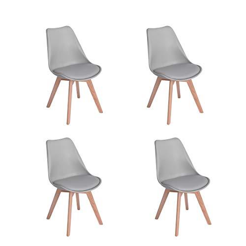 Comfortableplus Lot de 4 Chaises de Cuisine en Bois, Rétro Tulip Rembourrée Chaise de Salle de Bureau avec Pieds en Bois de Hêtre Massif,Gris