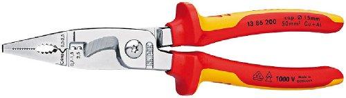 KNIPEX 13 86 200 SB Elektro-Installationszange verchromt isoliert mit Mehrkomponenten-Hüllen, VDE-geprüft 200 mm (in SB-Verpackung)