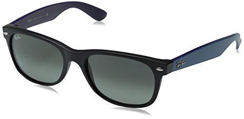 Ray-Ban Unisex Sonnenbrille New Wayfarer Mehrfarbig (Gestell: Schwarz/Blau, Gläser: Grau Verlauf 618371) Large (Herstellergröße: 55)