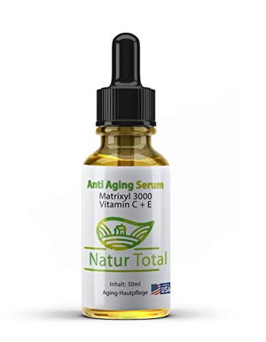 Natur Total Skin Anti Aging: USA Skin Care Serum mit Hyaluronsäure Matrixyl 3000 Vitamin C + E -