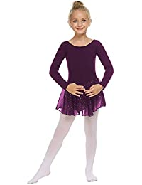 trudge Mädchen Ballettkleidung Ballettkleid Kinder Langarm Baumwolle Balletttrikot Ballettanzug Tanzkleid Tanzbody mit Rock Tütü
