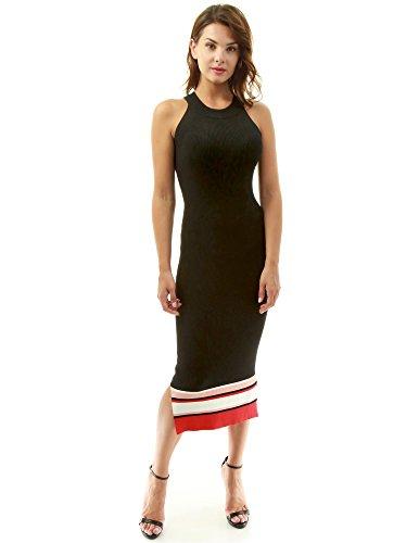 PattyBoutik Damen Farbe Block Halfter gerippt Strickkleid (schwarz, weiß und rot 36/S) - Schwarz & Weiß Halfter Kleid