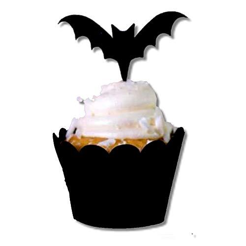 EROSPA® Halloween Dekoration Cupcake Muffin Wrappers Toppers - 12 Stück - Feldermaus - schwarz