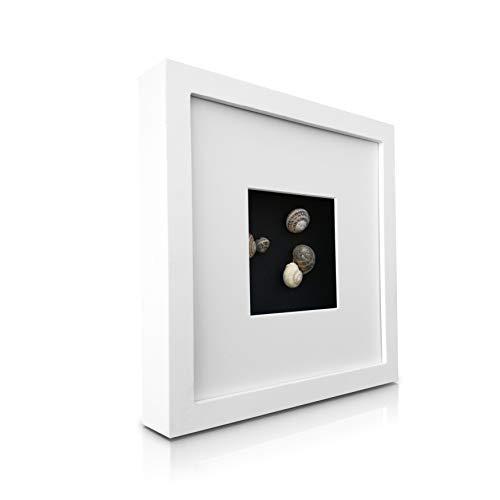 Classic by Casa Chic Cadre Boîte 3D en Bois Massif 23 x 23 cm avec Passe-Partout pour Photo de 10 x 10 cm Inclus, Peut Contenir des Objets de 2,5 cm d'épaisseur - Blanc