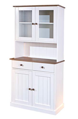 Inter Link FSC Landhausstil Buffet Vitrine mit 4 Türen 2 Schubladen Massivholz weiß sepia braun Esszimmer Küche