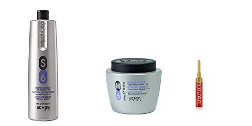 Scheda dettagliata Kit shampoo Capelli S6 1000 ml + maschera M6 500ml Echosline trattamento Antigiallo + in OMAGGIO fiala STRUTTURA