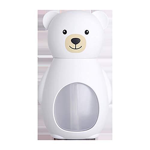 YBCD Humidificador silencioso, purificador de Aire de Oso de 160 ml, humidificador de Niebla fría USB, luz cálida LED, Cierre automático sin Agua, Adecuado para la Familia, Yoga, Oficina, SPA