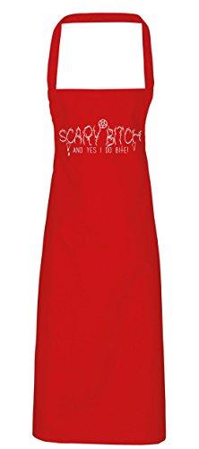 hippowarehouse Scary Bitch und ja, ich Do Bite Schürze Küche Kochen Malerei DIY Einheitsgröße Erwachsene, rot, (Kostüm Skull Red Candy)