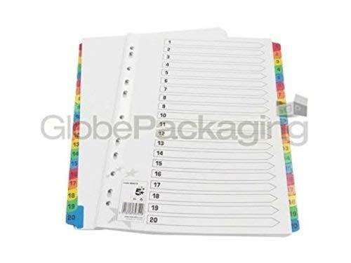 2 x Set, A4, Kunststoff-Register 1-20-Register Nummerierung