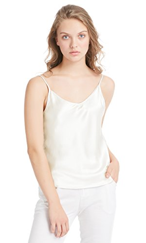 LilySilk Seidentop Sexy Seide Unterhemd Top Schlicht Trägertop Damen Camisole 100% Seiden Cami Tops Damentop aus Satin Elfenbein L Verpackung MEHRWEG - Cami Seide Top Shirt