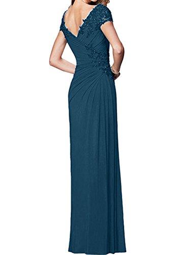 Ivydressing Damen Festlich V-Ausschnitt Abendkleider Arm Chiffon Brautmutterkleid Promkleider Royalblau