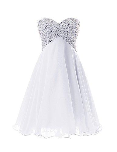 CoutureBridal® Robe de Soirée Bal Courte Robe Bustier sans Manches Perlé Blanc