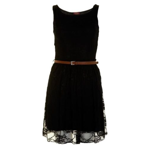 Momo Fashions sans manches en dentelle avec ceinture pour femme Robe Patineuse Taille 36–42 Noir - Noir