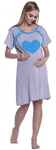 Happy Mama. Femme Maternité Chemise de Nuit Nuisette Grossesse Allaitement. 873p Bleu