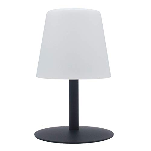 Lumisky - Lampada da tavolo da giardino, luce bianca, senza fili, con batteria Standy Mini Rock a LED, 26 cm, ABS Acciaio, grigio, 15x15xH26