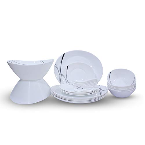 Soogo Opalware Dinner Set, 26-Pieces, White and Black