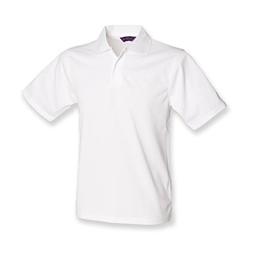 Henbury Herren Poloshirt Large Gr. L, Weiß - Performance-polyester Pique Polo