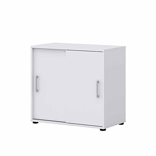 Pharao24 Schiebetüren Büroschrank in Weiß 80 cm