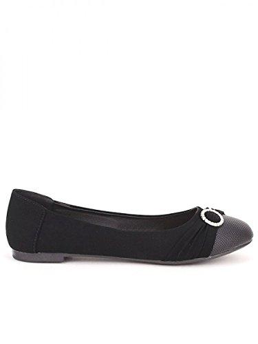 Cendriyon, Ballerine Noire BILANIE Chaussures Femme Noir