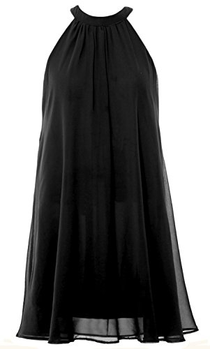 MACloth Women Halter Chiffon Cocktail Dress Short Wedding Party Formal Dress Black