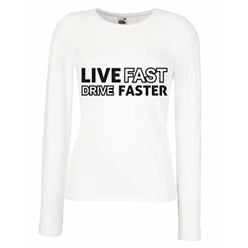 lepni.me Weibliche langen Ärmeln T-Shirt Live Fast Drive Faster (Medium Weiß Schwarz)