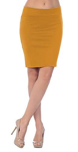 8816fd3d83 Emma   Giovanni - Corto Elástica Básica Falda - Mujer (Mostaza