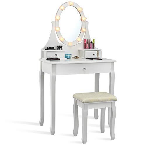 COSTWAY Schminktisch mit Hocker und Spiegel, Frisiertisch Set mit LED Beleuchtung, Frisierkommode weiß, Kosmetiktisch mit 3 Schubladen, Schminkkommode und Schminkhocker aus Holz (Modell 1)