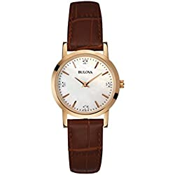 Bulova Diamond Women's Quartz Watch with Mother of Pearl Dial Analogue Display and Brown Leather Strap 97P105