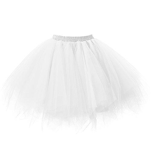 Vintage Weiße Tüll (Ellames Damen 50er Vintage Petticoat Party Dance Tutu Rock Ballkleid Weiß S/M)