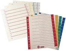 Preisvergleich Produktbild Trennblätter, farbiger Organisationsdruck - A4, blau, 100 Stück Aus 230 g/qm Kraftkarton (RC).Die Register-Taben können an jeder Stelle angeschnitten werden. Taben mit farbigem Organisationsdruck. Linienaufdruck. Eurolochung. Maße: 240 x 300 mm.