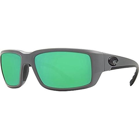 Costa Del Mar TF98OGMGLP Fantail Mens Matte Grey Frame Green Mirror 580g Lens Rectangular Polarized Sunglasses
