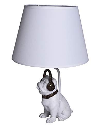 Tischlampe/Mops/Mopsfigur/Lampe/Hundelampe als lieblicher Mops aus Polystein und zudem mit angesagten Kopfhörern - Palazzo Exclusive