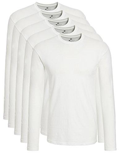Lower East 5er Pack Herren Langarmshirt mit Rundhals-Ausschnitt, in verschiedenen Farben,  Gr. X-Large, Weiß