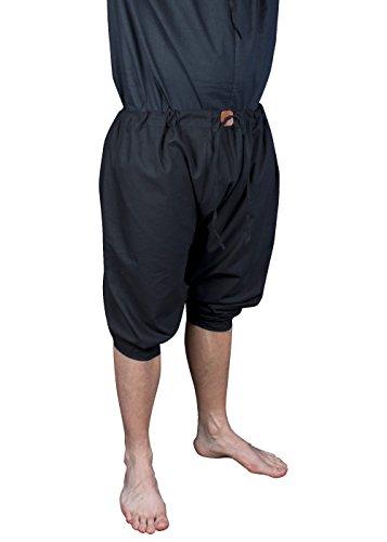 Einteilige Bruche Schwarz oder Naturfarben Kurze Bundhose LARP-Mittelalterhose Größe XS/S M/L XL/XXL (XL/XXL, Schwarz) (Epic Halloween Kostüme Für Männer)
