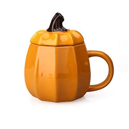 eramik Tasse Becher Kürbis Frühstück Tasse süße Keramik Tasse kreative Becher Halloween American Kürbis Tasse mit Deckel (Color : Orange, Size : 13.5 * 12cm) ()