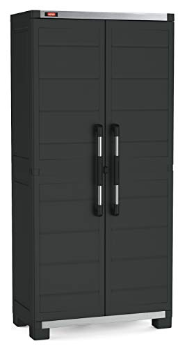 KETER Garage Armario Alto XL con 3 baldas, Negro