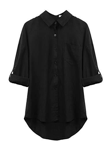 Parabler Damen Elegant Bluse Hemd Langarmshirt Tunika V-Ausschnitt Langarm Freizeit Shirt Tops (EU 38(Herstellergröße:M), Schwarz)