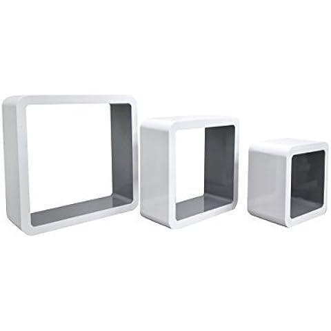 Rebecca srl Juego 3 Estantes Cubo Madera Blanco Gris Design Contemporaneo Salon Dormitorio (Cod. 0-3706N)