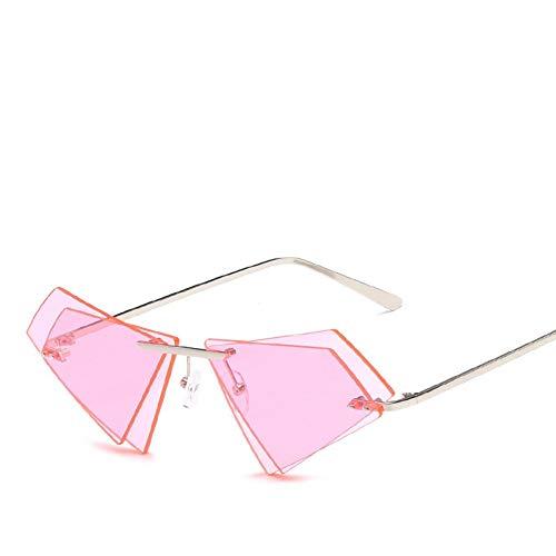 Wenkang Stilvolle randlose cat Eye Sonnenbrille männer Frauen dreieck doppelobjektiv Candy Color Designer Sonnenbrille,A3