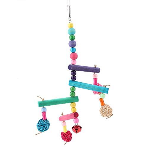 Juguete de Loros, Colorido Colgante de Madera Columpio Juguete Colgante Loro Nido Juguete Pinzones Jaulas Accesorios Decorativos Adecuados para pájaros Loros medianos y pequeños