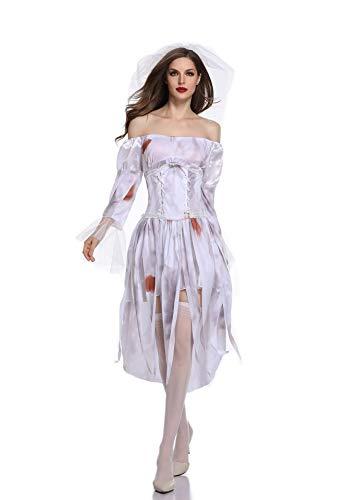 CWZJ Halloween Cosplay Kostüm Horror-Rolle Spielen Ghost Bride Weibliche Zombie-Spiel Uniform Kostüm Geeignet Für Karneval Themen Party Halloween,L