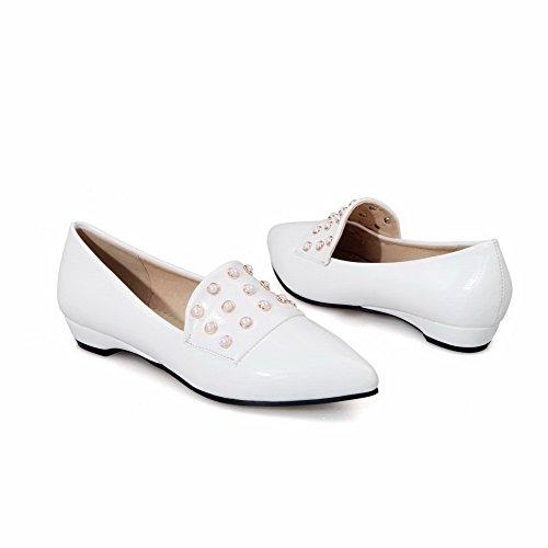 AgooLar Femme Pu Cuir à Talon Bas Pointu Mosaïque Tire Chaussures Légeres Blanc